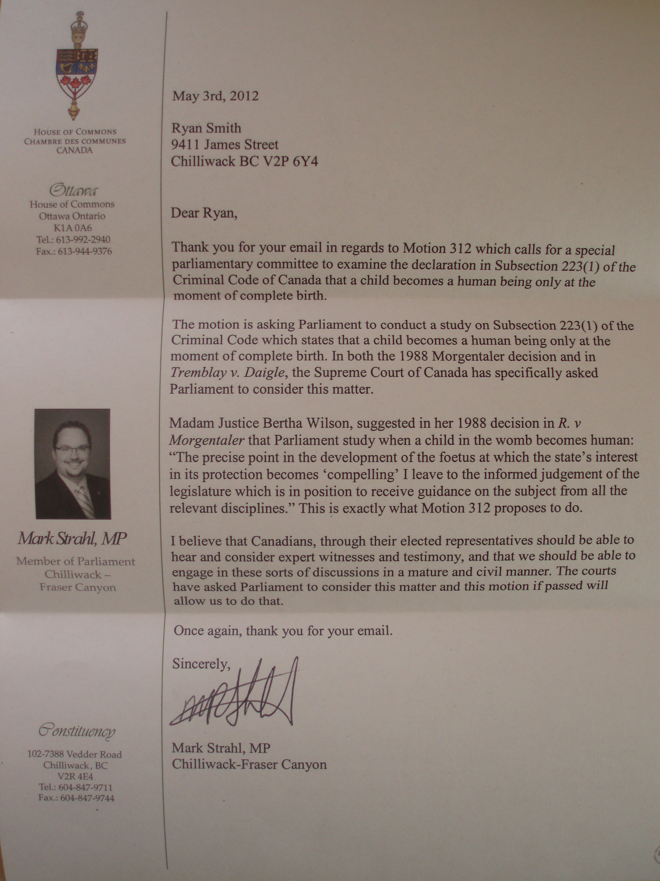 Letter From Mark Strahl - Member of Parliament